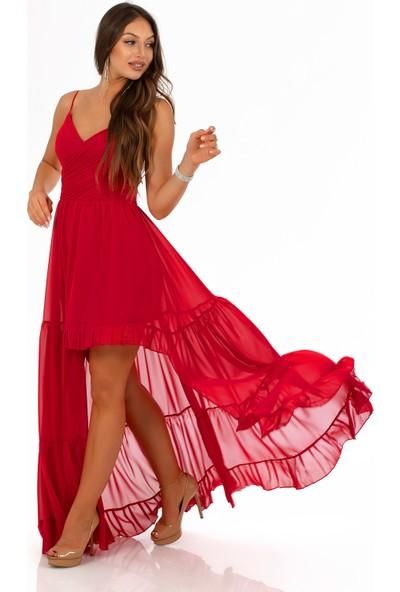Carmen Kırmızı Şifon Pliseli Askılı Uzun Abiye Elbise