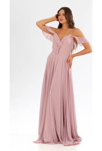 Carmen Pudra Şifon Göğsü Volanlı Uzun Abiye Elbise