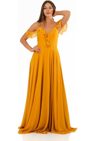 Carmen Safran Şifon Göğsü Volanlı Uzun Abiye Elbise