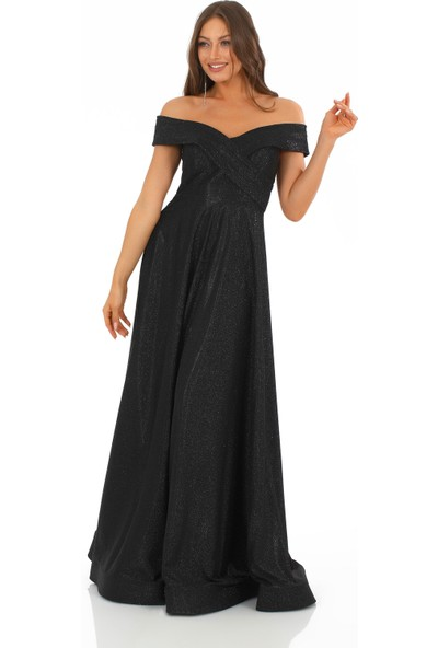 Carmen Siyah Simli Carmen Yaka Prenses Abiye Elbise