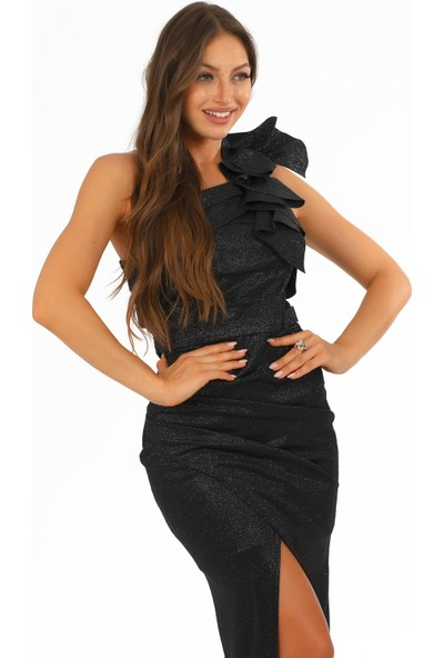 Carmen Siyah Simli Tek Omuzlu Uzun Abiye Elbise