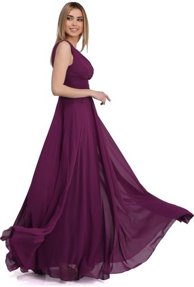 Carmen Mürdüm Şifon V Yaka Uzun Abiye Elbise