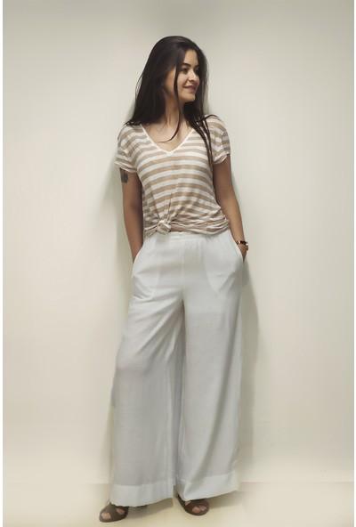 Shecco Babba Beyaz Bol Paça Beli Lastikli Astarlı Pantolon