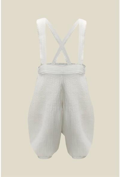 Shecco Babba Beyaz Erkek Bebek Askılı Tulum