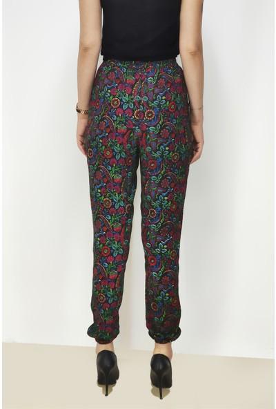 Shecco Babba Siyah Çiçek Desenli Paçası Lastikli Pantolon