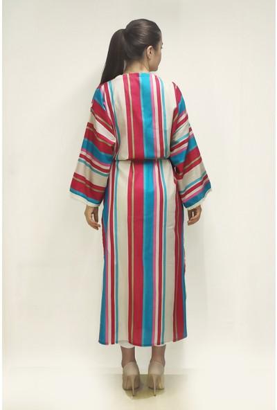 Shecco Babba Dantel Detaylı Kemerli Kimono Kaftan