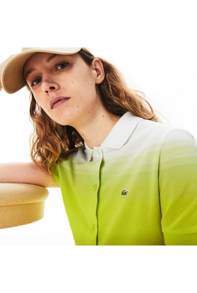 Lacoste Kadın Polo Yaka Degrade Kısa Kollu Sarı Beyaz Elbise EF5781.W8G