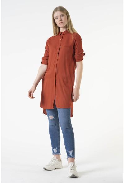 Reyon Yan Düğmeli Gömlek Yaka Uzun Tunik Kiremit