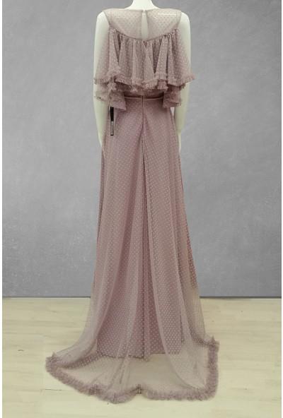 Helen Tül Döküm Kadın Abiye Elbise