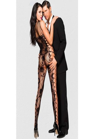 Mite Love Gül Desenli Fantezi Vücut Çorabı
