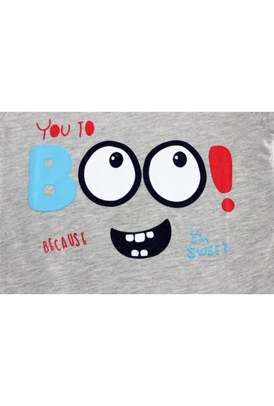 Bebekc Boo Baskılı Erkek Bebek Gri T-Shirt
