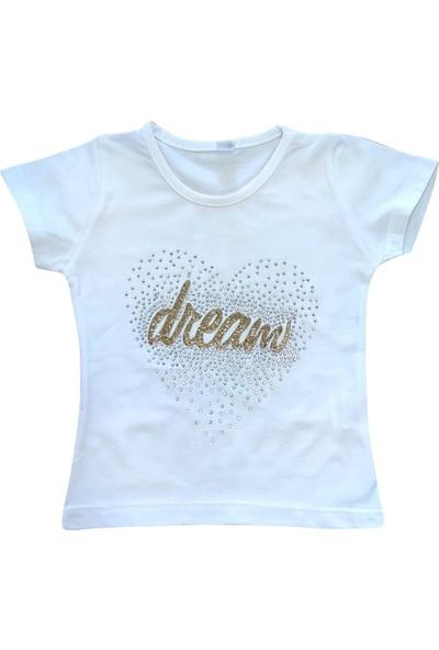 Bebekc Dream Taş Baskılı Kız Bebek Beyaz T-Shirt