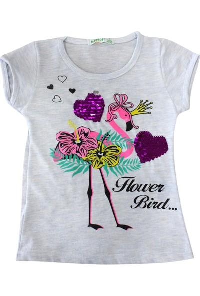 Bebekc Flower Bird Baskılı Kız T-Shirt