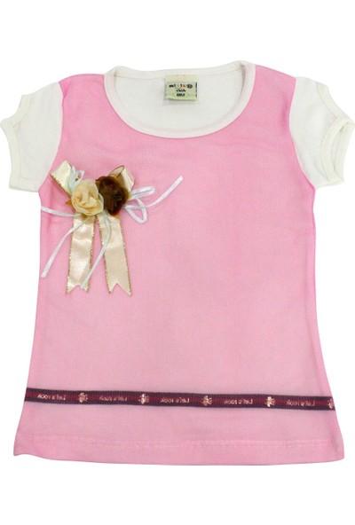 Bebekc Gül Detaylı Şeritli Tül Bebek Çocuk Koyu Pembe T-Shirt