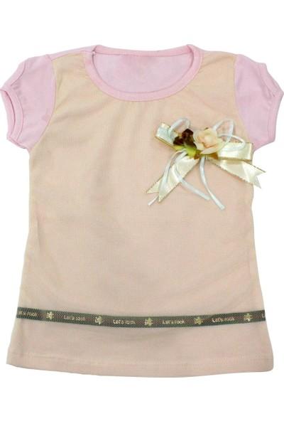 Bebekc Gül Detaylı Şeritli Tül Bebek Çocuk Yavruağzı T-Shirt