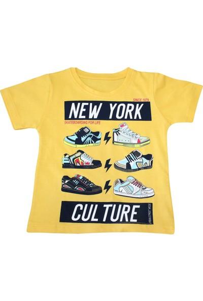 Bebekc New York Baskılı Erkek Sarı T-Shirt