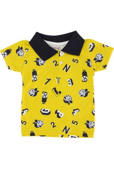 Bebekc Rakam Baskılı Yakalı T-Shirt