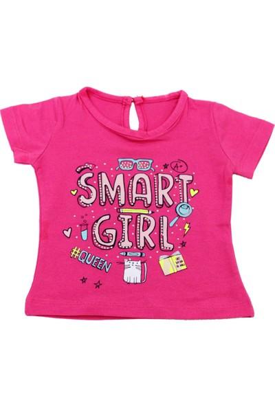 Bebekc Smart Girl Baskılı Kız Bebek Fuşya T-Shirt
