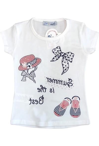 Bebekc Summer Baskılı Taşlı Kız T-Shirt