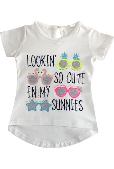 Bebekc Sunnies Baskılı Taşlı Beyaz Kız T-Shirt