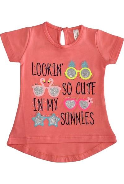 Bebekc Sunnies Baskılı Taşlı Mercan Kırmızı Kız T-Shirt