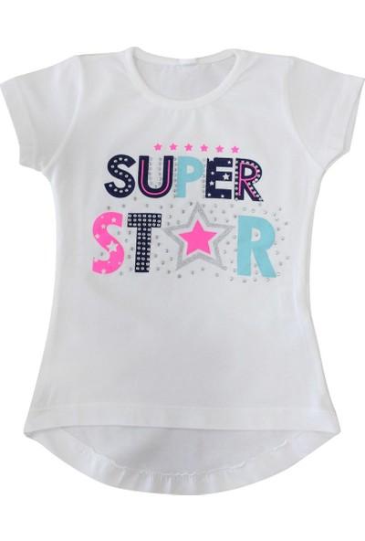 Bebekc Super Star Baskılı Taşlı Kız T-Shirt