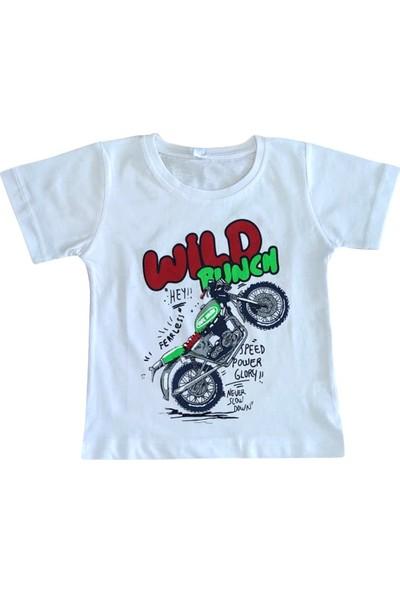 Bebekc Wild Punch Baskılı Erkek Bebek Beyaz T-Shirt