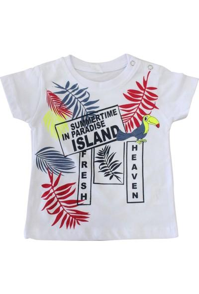 Bebekc Yaz Temalı Erkek Bebek T-Shirt