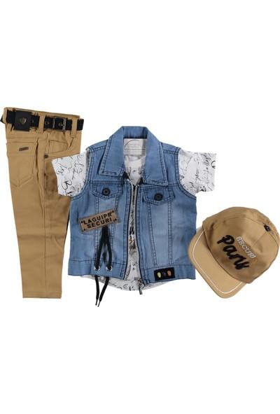 Yavrucak Kot Yelkli Şapkalı Keten Pantolon Takım
