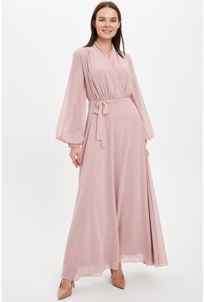 DeFacto Kuşaklı Uzun Kruvaze Abiye Elbise R9350AZ20SP