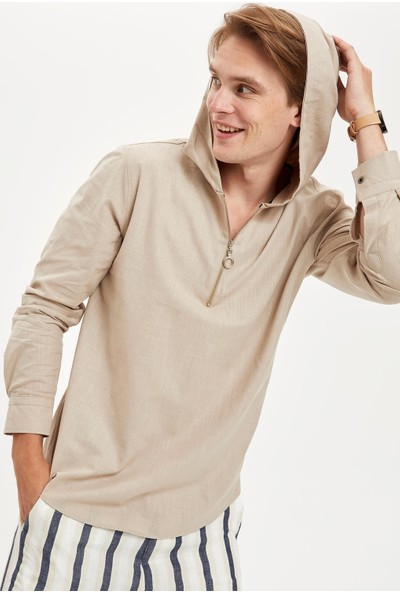 DeFacto Slim Fit Uzun Kollu Pamuklu Kapüşonlu Gömlek S3999AZ20HS