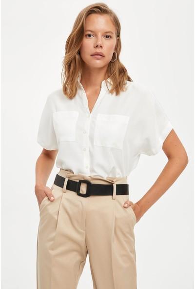 Defacto Kadın Regular Fit Uzun Kısa Kollu Gömlek