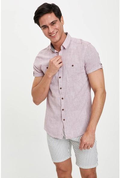 Defacto Erkek Slim Fit Kısa Kollu Gömlek
