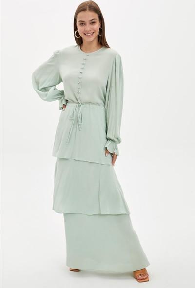 DeFacto Desenli Dokuma Elbise R4114AZ20SM