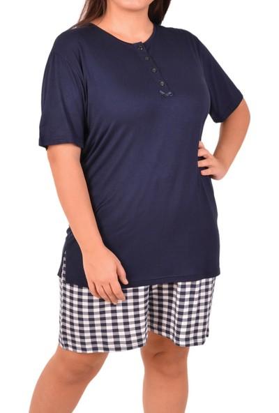 Nicoletta Lacivert Kadın Şortlu Pijama Takımı Kısa Kollu Büyük Beden Cepli