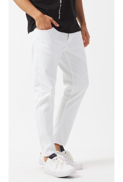 Jean Maker Erkek Kısa Paça Beyaz Jeans Pantolon Slim Fit