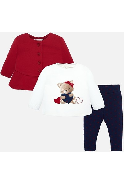 Mayoral Kız Bebek Kırmızı Lacivert Ayıcıklı Tayt Ceket T Shirt 2621