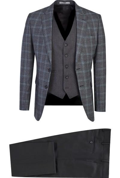 Kiğılı Slim Fit Yelekli Ekose Takım Elbise