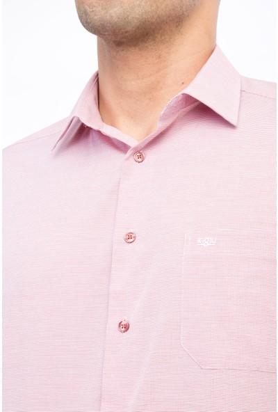 Kiğılı Kısa Kol Desenli Klasik Gömlek