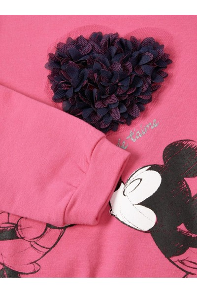 Name İt Kız Çocuk Disney Minnie Mickey Love Baskılı Sweatshirt