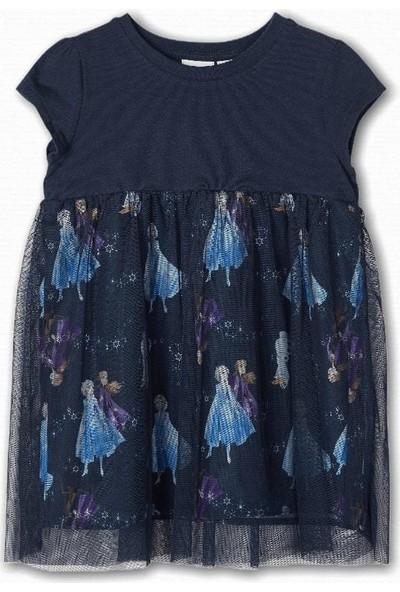Name İt Kız Çocuk Frozen Elsa Baskılı Elbise