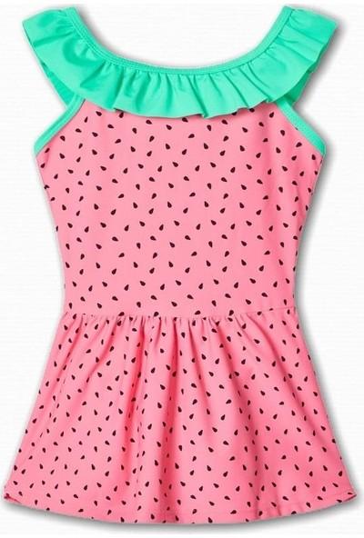 Name İt Kız Çocuk Karpuz Baskılı Mayo Elbise