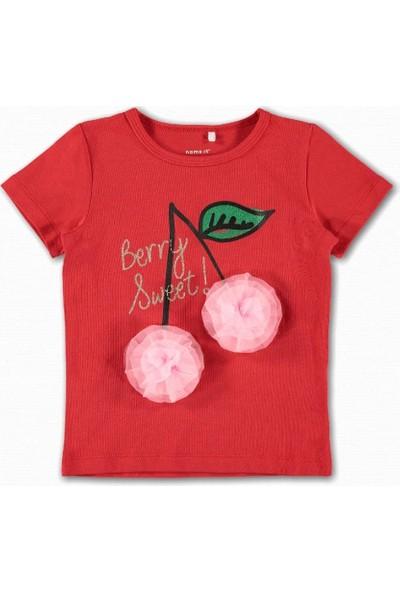 Name İt Kız Çocuk Kiraz Baskılı T-Shirt