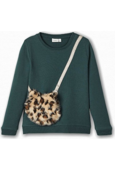 Name İt Kız Çocuk Leopar Çanta Detaylı Sweatshirt