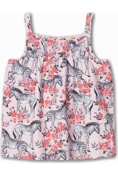 Name İt Kız Çocuk Zebra Baskılı Asklı Bluz