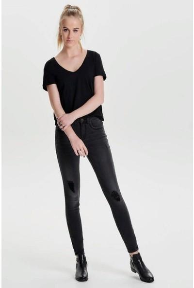 Only Kadın Paçası Fermuarlı Yırtık Detaylı Kot Pantolon 15138624