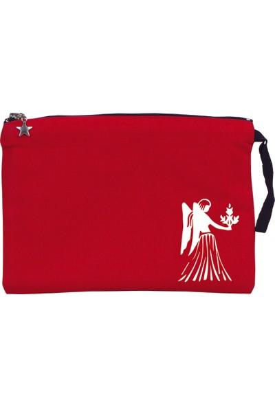 Pamusan Burç Baskılı Kanvas Clutch Çanta - Başak Burcu Kırmızı