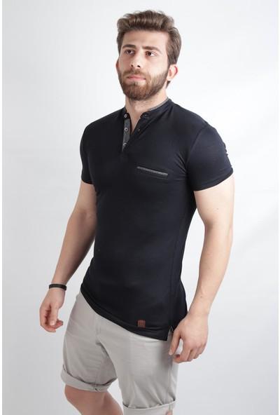 Alexander Gardi Patli Hakim Yaka Slim Fit T-Shirt Koyu Lacivert (E20-300401)