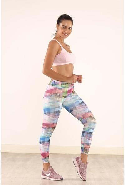 Cool&wear 21608 Dijital Baskı Yüksek Bel Toparlayıcı Spor Tayt