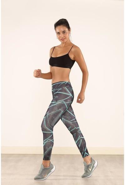 Cool&wear 21609 Dijital Baskı Yüksek Bel Toparlayıcı Spor Tayt